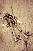Keys On Wood Background
