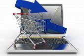 Laptop with arrow and Shopping cart. The concept of buying gifts and commodities on the Internet. 3d
