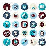 Set of flat design icons with long shadows