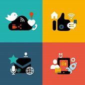 Set of modern flat design social media compositions