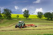 stock photo of rape-field  - Tractor with hay tedder in front of fruit trees and a rape field in nascent thunderstorm - JPG