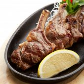 Grilled Foods - Rack of Lamb with Parsley, White Radish and Lemon Slice