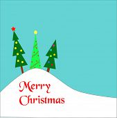 Three christmas trees on a hill covered by snow.  Merry Christmas wishes in red.   Eps10 vector form
