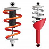 Two shock absorbers on a white background