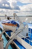 Samara, Russia - August 31, 2014: Lifeboat Of The River Cruise Passenger Ship S. Yulaev At The Moore