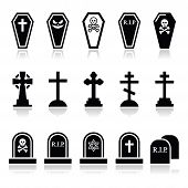 stock photo of coffin  - Vector icons set isolated on white  - JPG