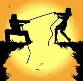 tug of war between man and woman