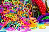 Close Up Of Color Full Elastic Love Heart Shape