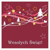 Christmas vector card or invitation for party with Merry Christmas wishes in polish: Wesolych swiat