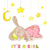 Baby Shower or Baby Arrival Cards - Sleeping Baby Bunny and Stars- in vector