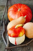 Pumpkins On A Wooden Background