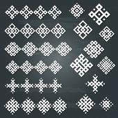 set of white geometric designs isolated on chalkboard background