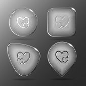 Careful heart. Glass buttons. Vector illustration.