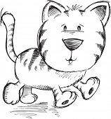 Cute Doodle Sketch Cat Vector Illustration Art