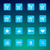 Collection of various blue e-shop icons - shopping carts