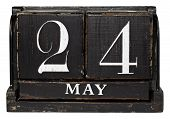 stock photo of 24th  - Antique Cube Calendar showing May 24th isolated on a white background - JPG