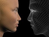 High resolution concept or conceptual 3D wireframe human male or female head isolated on black background