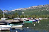 pic of annecy  - boats moored on Lake Annecy in France - JPG