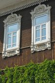 stock photo of novosibirsk  - Decorated windows of the old mansion in Novosibirsk - JPG