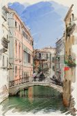 art watercolor background on paper texture with street,  channel and bridge in Venice, Italy