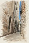 art watercolor background on paper texture with street  in Venice, Italy