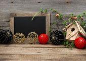 Vintage Christmas Decoration With Blackboard