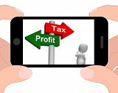 Tax Or Profit Signpost Displays Account Taxation Or Profits