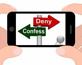 Confess Deny Signpost Displays Confessing Or Denying Guilt Innocence