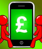 Pound Sign On Phone Displays British Money Gbp