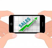Sales Graph Displays Increased Selling And Earnings