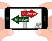 stock photo of self-employment  - Employee Self Employed Signpost Displaying Choose Career Job Choice - JPG