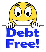 Debt Free On Sign Means Free From Financial Burden
