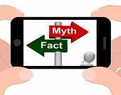 Fact Myth Signpost Displays Facts Or Mythology