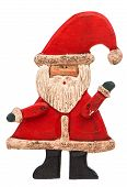 Antique Hand Made Toy Santa Claus Isolated On White