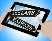 Dollars Euros Tablet Shows Foreign Currency Exchange