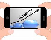 Economy Arrow Displays Economic System And Finances