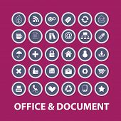 office, document icons, signs, illustrations, objects set, vector