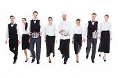 picture of waiter  - Large group of waiters and waitresses - JPG