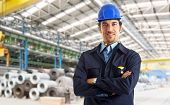 Portrait of an industrial worker in a factory