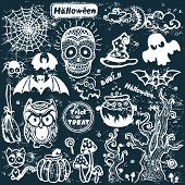 Vector vintage Halloween set of icons