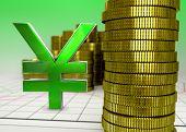 golden coins and green yen symbol