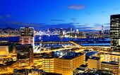image of hong kong bridge  - Sunset in downtown city - JPG