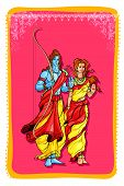 foto of sita  - vector illustration of Lord Rama and Sita wishing Happy Dussehra - JPG