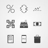 Contour vector icons for internet moneymaking