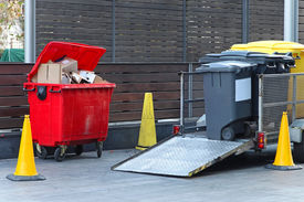 image of dumpster  - Collecting dumpsters with garbage for recycling trash - JPG