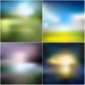 Abstract blurred backgrounds set, abstract templates vector