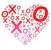 foto of x-files  - A heart shape filled with X and O in gradient red and pink color - JPG