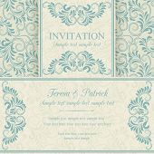 Baroque invitation, blue and beige