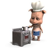 the cook is a cute toon pig