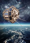stock photo of orbital  - Space satellite orbiting the earth - JPG